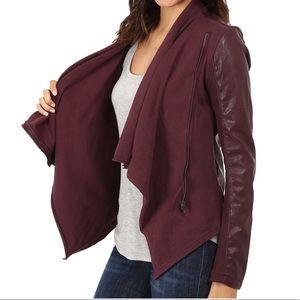 Blank NYC Faux Leather Drape Jacket in Oxblood